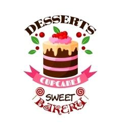 Dessert cake or tart icon or emblem vector