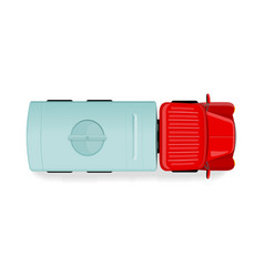 truck with tanker top view flat style icon vector image