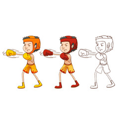 Man boxing in three different drawing styles vector