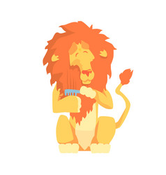 Cute cartoon lion combing its mane colorful vector