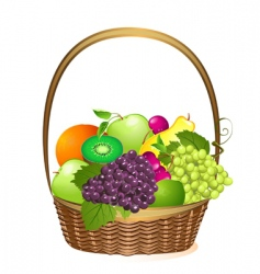 Wicker basket with fruit vector