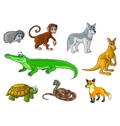 Cartoon forest and jungle wild animals vector