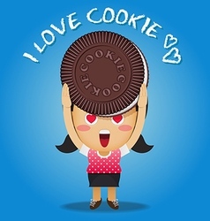 Happy woman carrying big chocolate cookie vector
