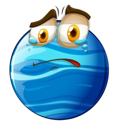 Crying face on blue planet vector