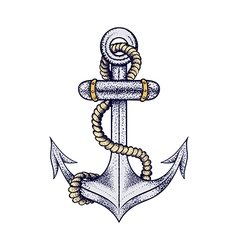 Hand drawn elegant ship sea anchor with rope vector