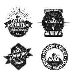 Exploration camping badges retro style logotype vector