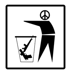 Man with peace symbol drops guns on the bin vector