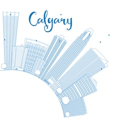 Outline calgary skyline with blue buildings vector