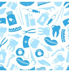 Set of blue dental theme icons blue seamless vector