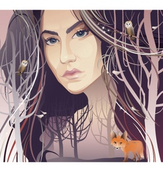 Young Woman in Forest vector image