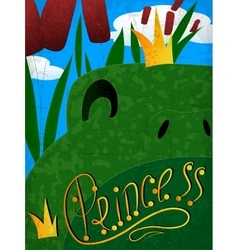 Frog princess with crown vector