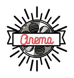 Color vintage cinema emblem vector