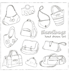 Hand drawn doodle sketch set of bags vector