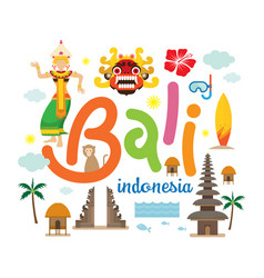Bali indonesia travel and attraction vector