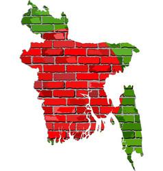Bangladesh map on a brick wall vector