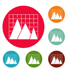 business chart icons circle set vector image vector image