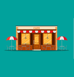 Cafe shop exterior street restraunt building vector