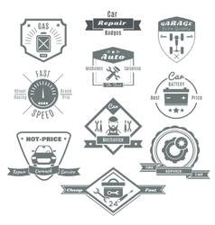 Car Repair Black White Badges vector image
