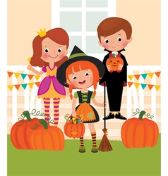 Children in celebration of Halloween on the doorst vector image