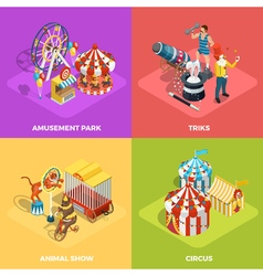 Circus 4 isometric icons square poster vector