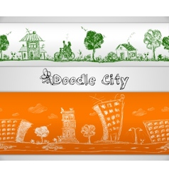 City doodle seamless border vector image