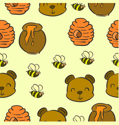Collection bear and honey pattern style vector