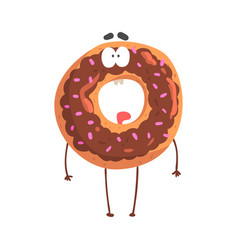 cute donut character with chocolate glazing vector image