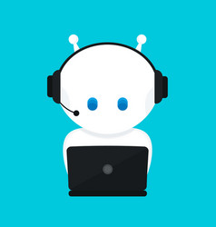 cute funny white robotchat bot vector image vector image