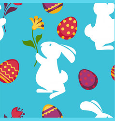 easter paschal eggs and bunny seamless pattern vector image