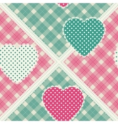 Floral background with decorative patchwork hearts vector