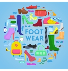 Footwear and Accessories Icons Set with Shoes vector image