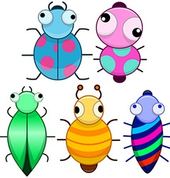 Funny colorful cute little bugs vector