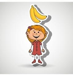 Girl cartoon fruit food vector