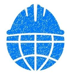 Global Helmet Grainy Texture Icon vector image