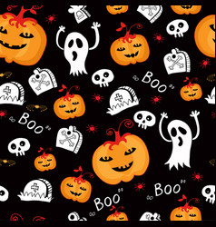 Halloween seamless comic pumpkin and phantom vector