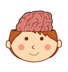 kid with brain character vector image