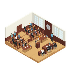Law justice isometric composition poster vector