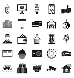 Lodge icons set simple style vector