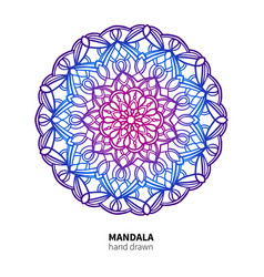 Mandala flower drawing ethnic colorful vector