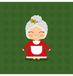Merry christmas card mrs claus vector image