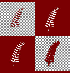 olive twig sign bordo and white icons and vector image