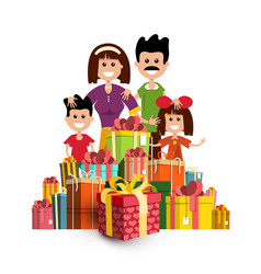 People with paper gift boxes happy family and vector