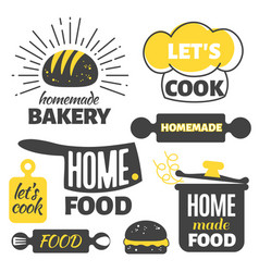 retro cooking badges - homemade food emblems set vector image vector image