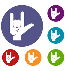 Rock gesture icons set vector