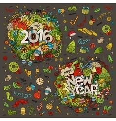 Set of 2016 and New Year hand lettering and vector image vector image