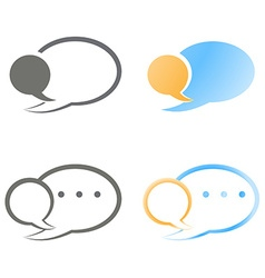 set of blank speech bubbles blue orange and black vector image vector image