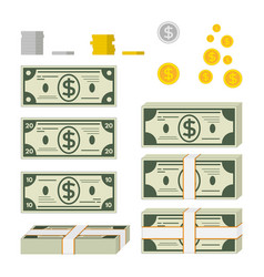set of paper money and coins vector image vector image