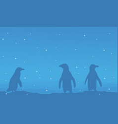 Silhouette of penguin on blue background scenery vector