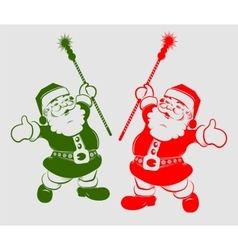 Silhouette of santa claus with a stick vector