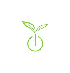 Sprout mockup eco logo green leaf seedling growing vector